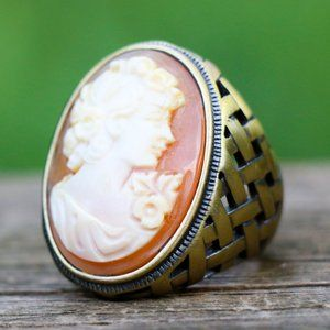 Amedeo Basketweave Bronze Cameo Ring